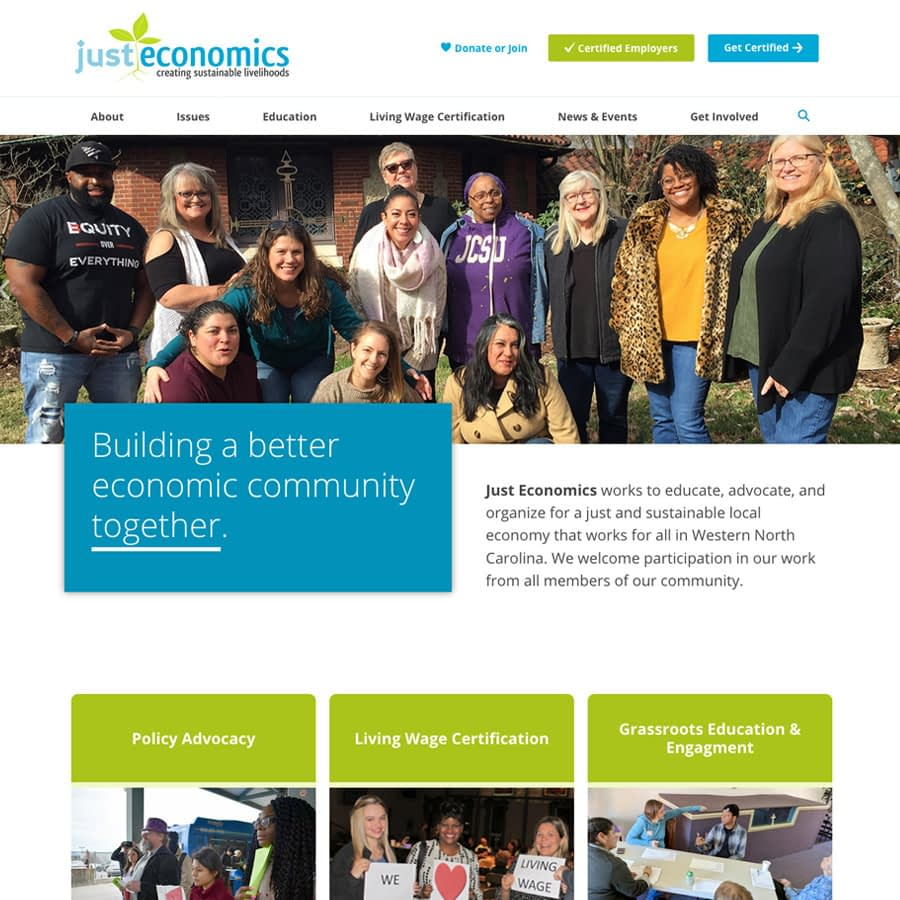 Just Economics WNC homepage website screenshot