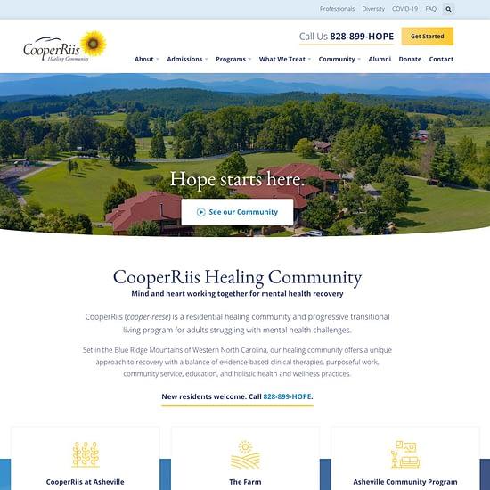 CooperRiis Healing Community Website homepage