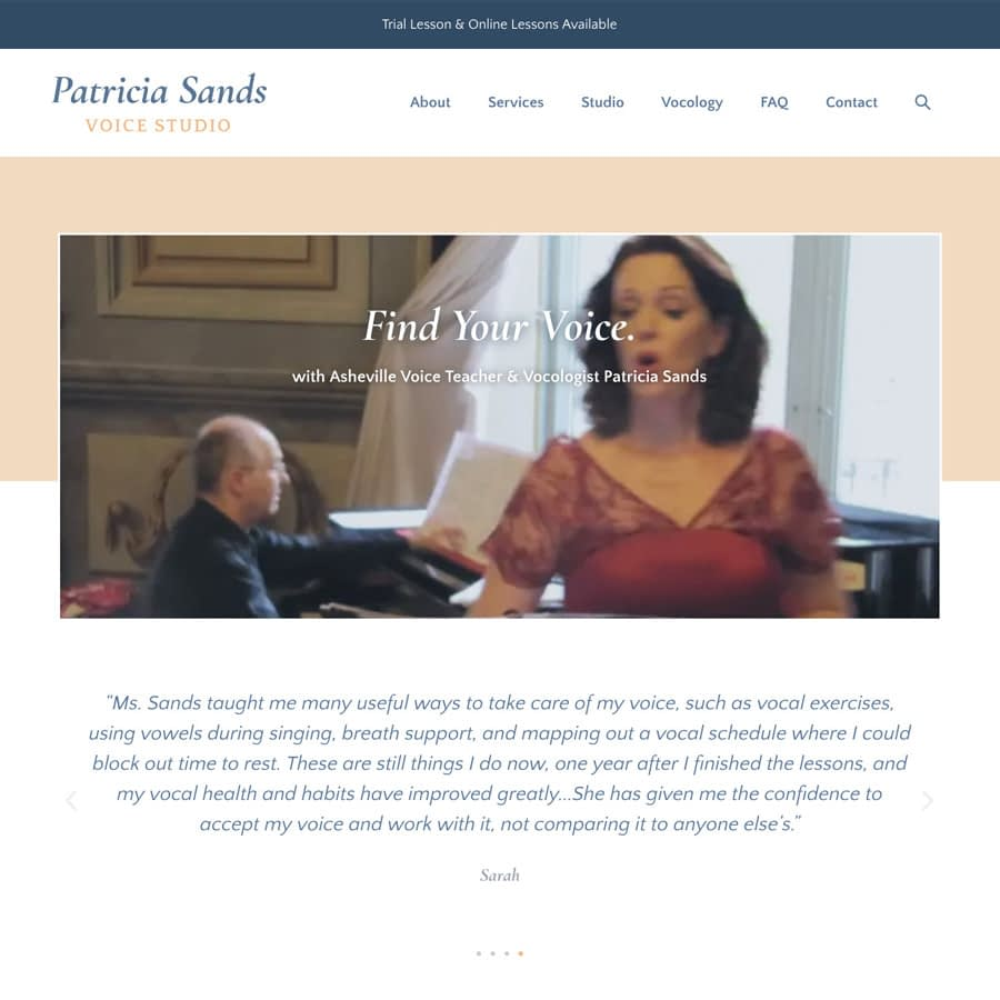 Patricia Sands Voice Studio website homepage screenshot
