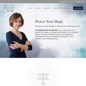 de Vos Devine Law website screenshot
