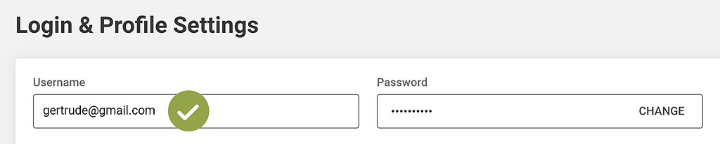 Screenshot of a Login and Profile settings screen showing a personal email address as the username
