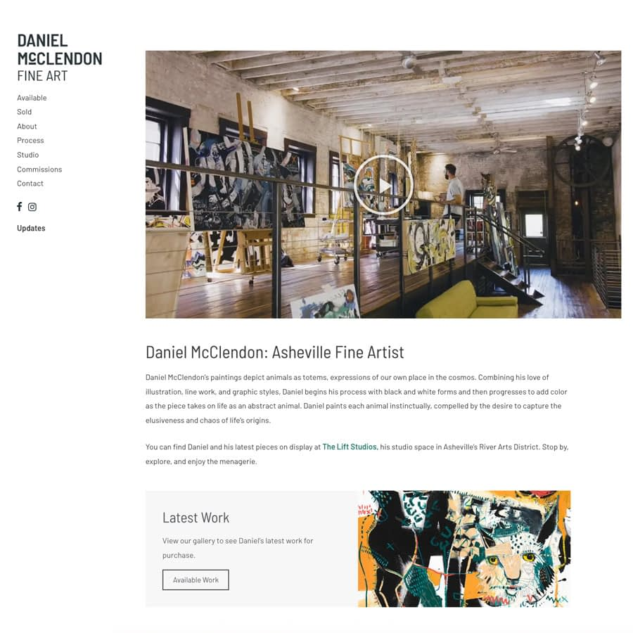 Daniel McClendon Fine Artist website screenshot