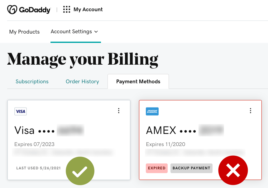 Screenshot of credit card management area in Godaddy