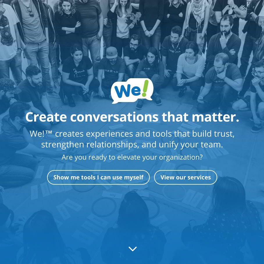 We website homepage screenshot