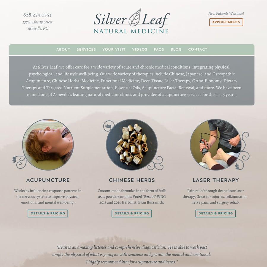 Silver Leaf Natural Medicine website homepage screenshot